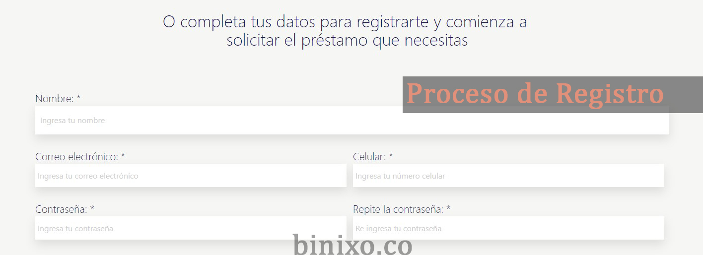 Proceso de Registro - binixo.co